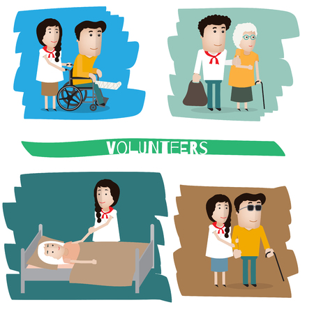 sick person: a volunteer helps a blind, old grandmother, the patient,