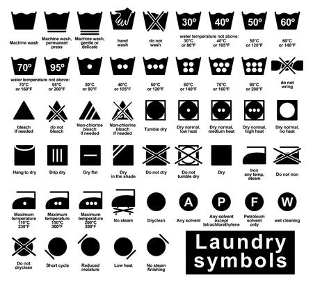 Set di icone di simboli di lavanderia, panno illustrazione vettoriale etichetta di stampa Vettoriali
