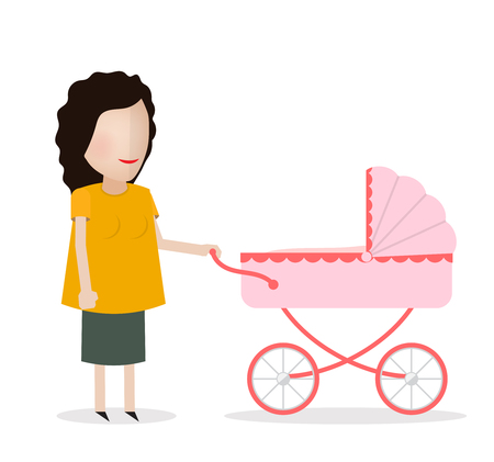 love, parenthood, family, people mother  smiling couple with baby pram stroller Illustration