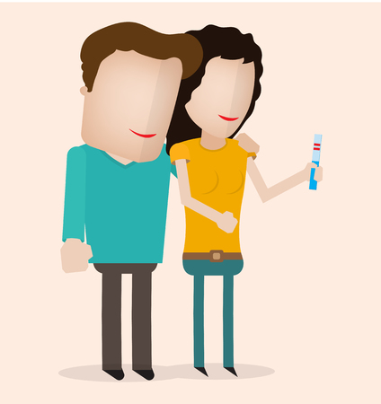 pregnancy test: Couple Looking At A Positive Pregnancy Test first trimester pregnant Illustration