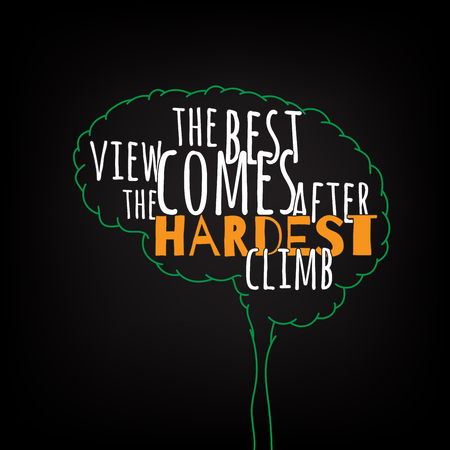 the best view comes after the hardest climb motivation clever ideas in the brain poster. Text lettering of an inspirational saying. Quote Typographical Poster Template, vector design Illustration