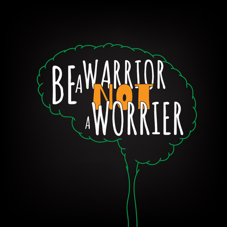 be or not to be: be a warrior not a worrier  motivation clever ideas in the brain poster. Text lettering of an inspirational saying. Quote Typographical Poster Template, vector design