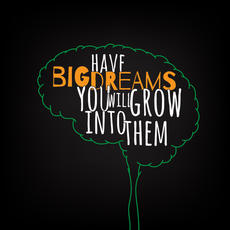 grows: have big dreams you will grow into them motivation clever ideas in the brain poster. Text lettering of an inspirational saying. Quote Typographical Poster Template, vector design
