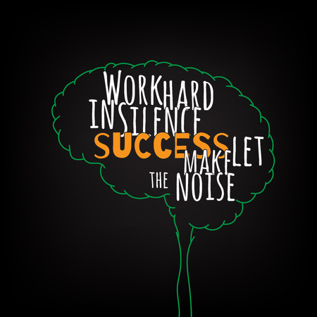 work hard in silence success let make the noise motivation clever ideas in the brain poster. Text lettering of an inspirational saying. Quote Typographical Poster Template, vector design Illusztráció