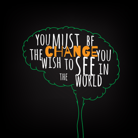 be the change: you must be the change you wish to see in the world motivation clever ideas in the brain poster. Text lettering of an inspirational saying. Quote Typographical Poster Template, vector design