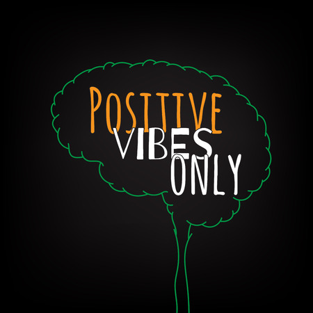 positive note: positive vibes only motivation clever ideas in the brain poster. Text lettering of an inspirational saying. Quote Typographical Poster Template, vector design