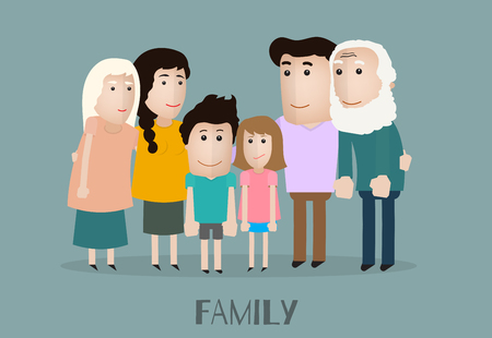 grandmother mother daughter: vector portrait family with grandfather grandmother mother son daughter and father
