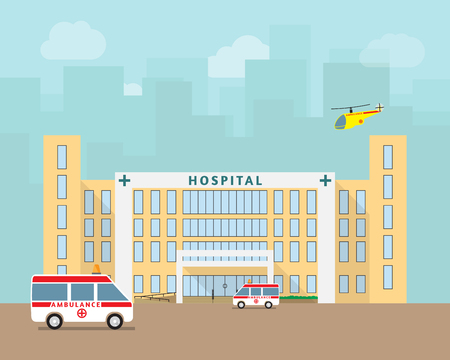 car care center: City hospital building with ambulance and helicopter in flat design. vector.