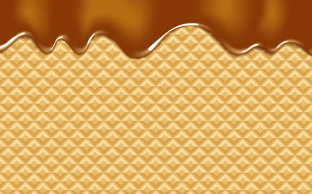 melting chocolate: vector background with melting chocolate on wafer