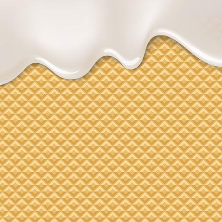 Wafer and flowing white chocolate, cream or yogurt