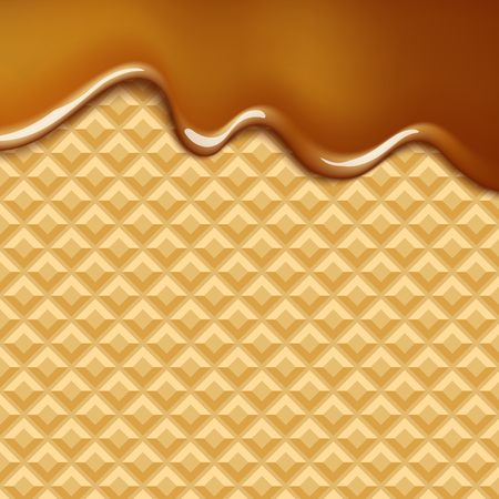 crispy: vector background with melting chocolate on wafer