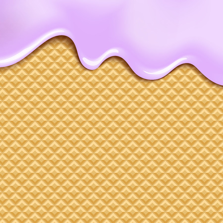crispy: Wafer and flowing white chocolate, cream or yogurt - vector background.