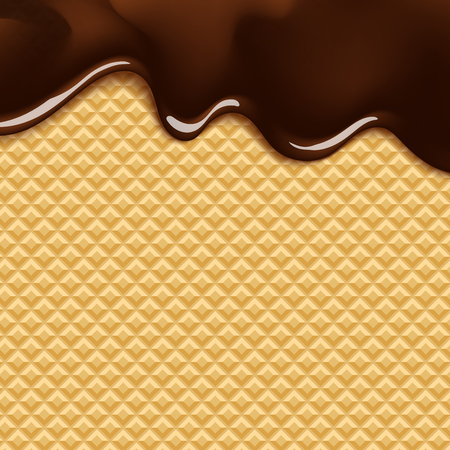 wafer: vector background with melting chocolate on wafer