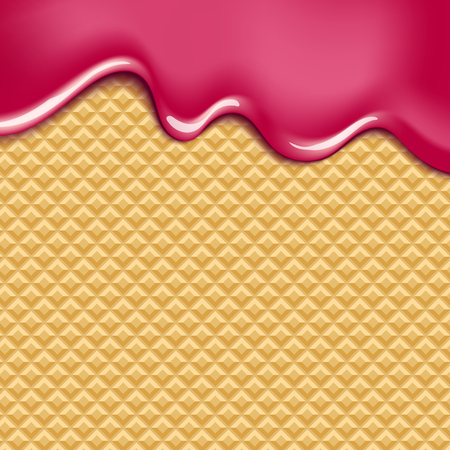 Wafer and flowing white chocolate, cream or yogurt - vector background.