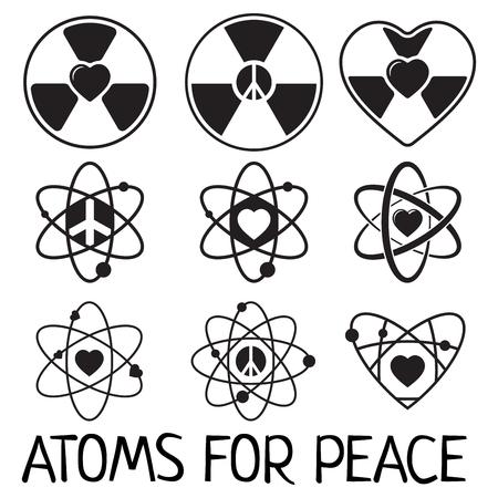Vector black atom icons set peace love good atom save the world