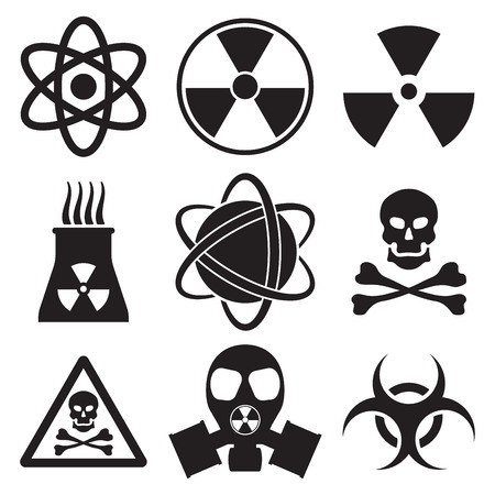 explosion risk: Vector black atom icons set nuclear danger