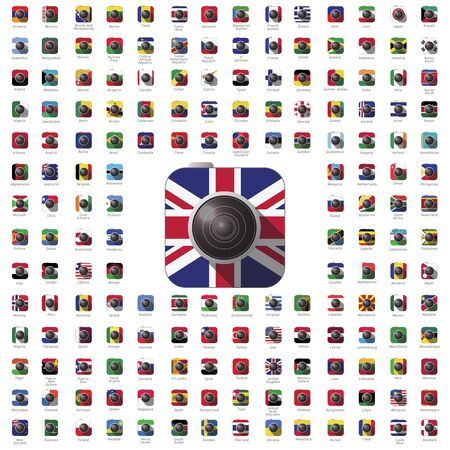 world flag: icon camera world flag travel vector color lens