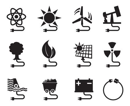 energia solar: fijar el icono de energía fuente de energía de recursos de energía eléctrica del vector Vectores