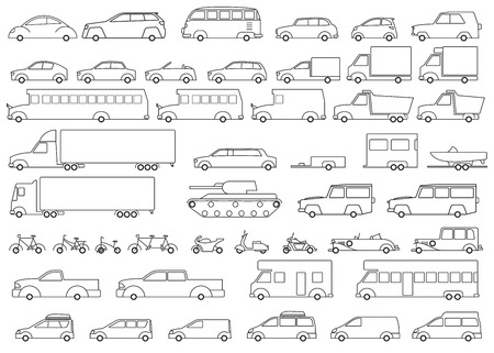 car icons: Car icons set. Linear style fun transport Vector illustration.