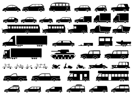 Car icons set. Linear style fun transport Vector illustration.