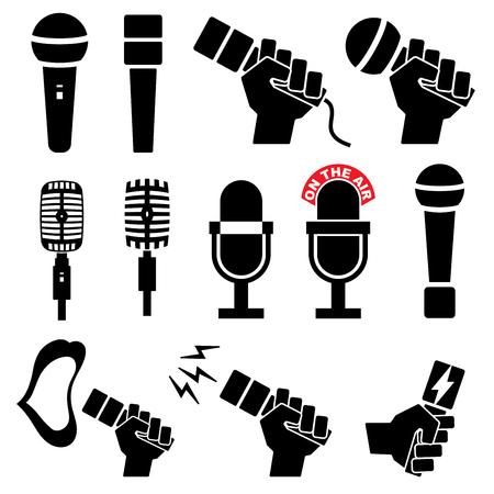 Microphone icons on white background. Vector illustration. sound mic set karaoke