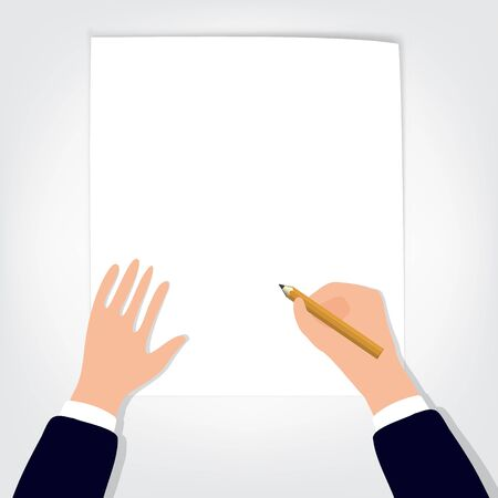 Image of human hands with pencil and eraser on white table blank sheet