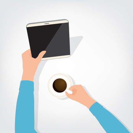 using tablet: The person using the digital tablet ipad style blank coffee