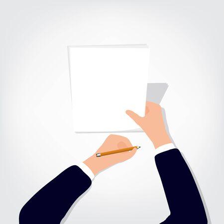 persona escribiendo: Imagen de manos humanas con lápiz y goma de borrar en la hoja en blanco blanco de mesa Vectores