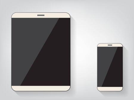 Modern digital tablet PC with mobile smartphone isolated on white. Ilustração