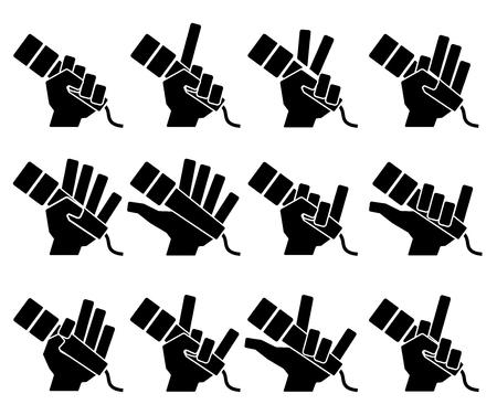 Microphone icons on white background. Vector illustration. sound mic set karaoke gestures Ilustração