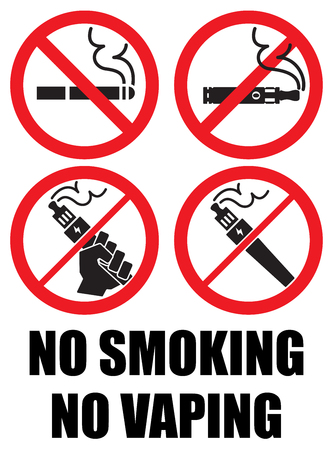 set vaping icons no smoking sign vape Vectores