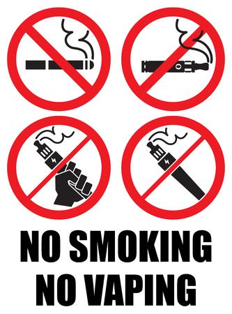 ustawić vaping ikony żadnych oznak palenia Vape Ilustracje wektorowe