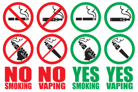 set vaping icons no smoking sign vape yes smoking area Illustration