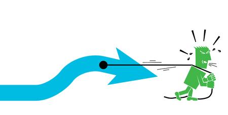 man pulls an arrow character person people Ilustração