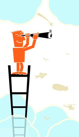 climbed: man climbed onto ladder and looking through a telescope character person people