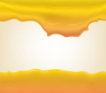 yogurt, cream or juice splashing. Orange smudges splashes drops on blue background. illustration Illustration