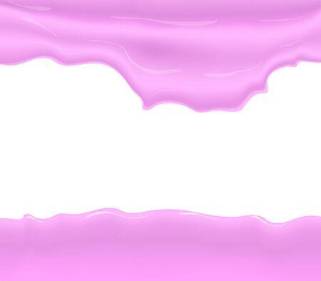 Milk, yogurt, cream or juice splashing. Pink smudges splashes drops on blue background.  illustration
