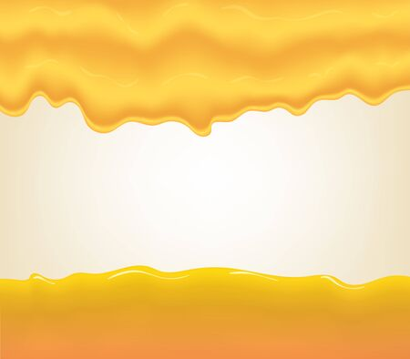 yogurt, cream or juice splashing. Orange smudges splashes drops on blue background. illustration Ilustração