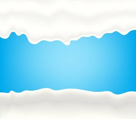 Milk, yogurt, cream or juice splashing. White smudges splashes drops on blue background.  illustration