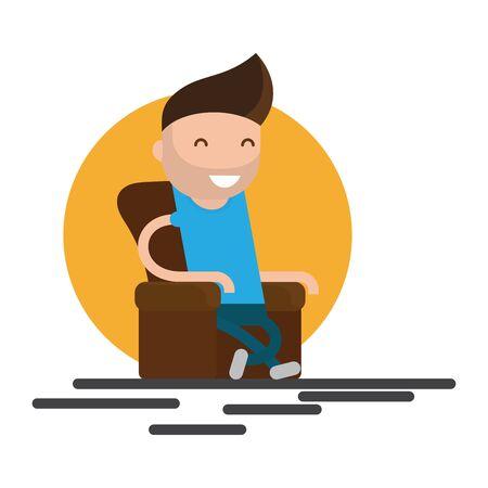 comfort: Man sitting In armchair relaxing comfort home vector illustration