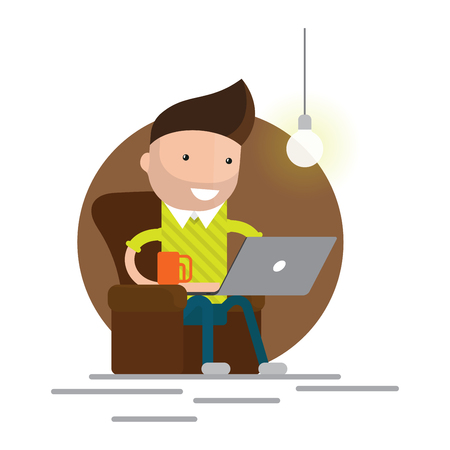 armchair: Character working from home with laptop sitting in armchair with a cup of coffee. Home office. Freelancer. Remote work. concept illustration. Illustration