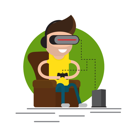 VR gaming. Man sitting in an armchair and playing using vr headset. Vector flat illustration.