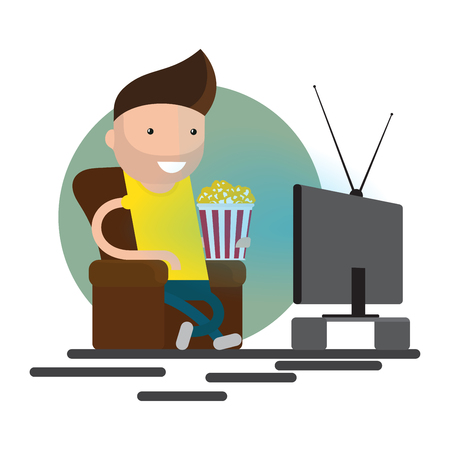 sedentary: Man watching television on armchair. Sitting in chair, watching tv and eating. Vector flat illustration