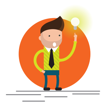 Businessman get the big good idea bulb vector