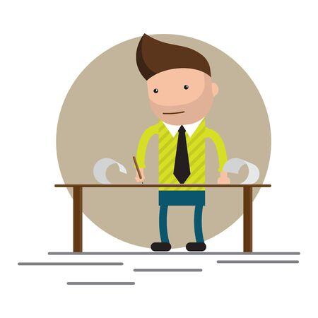 man standing and working at the table. Brainstorming, startup. Flat vector illustration. Ilustração
