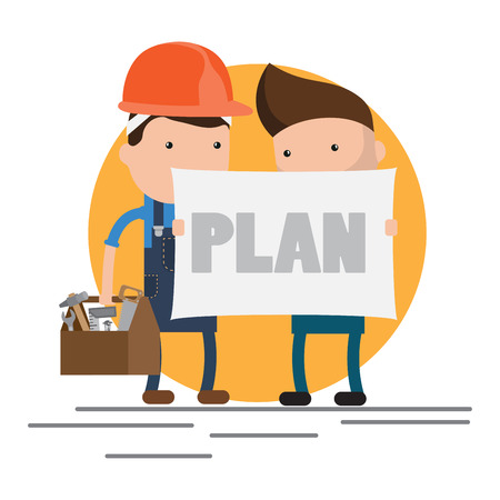 helper: Cool flat design characters on building worker with hard hat helmet, and tool box and civil engineer specialist holding plan Illustration