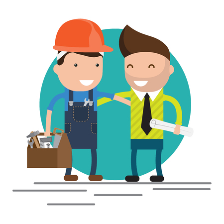 technician: Cool flat design characters on building worker with hard hat helmet, and tool box and civil engineer specialist holding plan Illustration