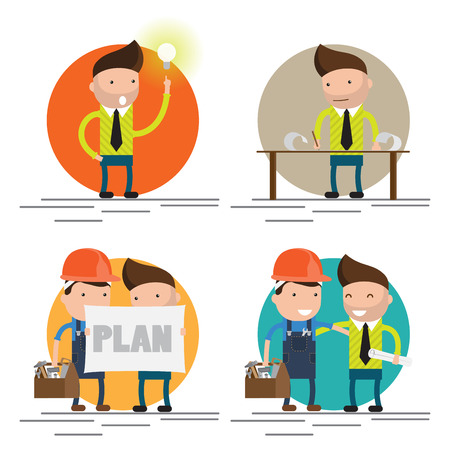 Cool flat design characters on building worker with hard hat helmet, and tool box and civil engineer specialist holding plan set
