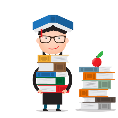 student with books: the student stands and holds a large bundle of books, standing next to a stack of books on the floor. Illustration