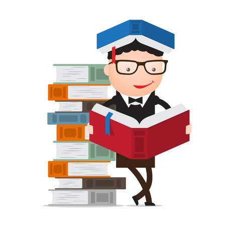 news reader: graduate or student or pupil leaning on a pile of books reading Illustration